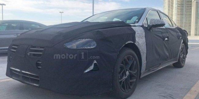 Новую Hyundai Sonata получилось сфотографировать во время дорожных тестов